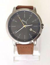 Puma caballero reloj liberated marrón plata negro de cuero fecha pu104231005