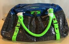 AUTHENTIC MARC JACOBS PURSE LOGO GREEN LEATHER PATENT TOTE FASHION BAG BLUE NWT
