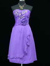 Cherlone Chiffon Purple Strapless Party Prom Ball Evening Bridesmaid Dress 14