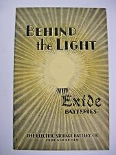 """Vintage """"Behind the Light"""" Brochure by The Electric Storage Battey Co."""