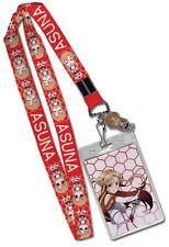 **Legit** Sword Art Online Metal Asuna Badge ID Holder Authentic Lanyard #37536
