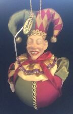 "Katherine's Collection Wayne Kleski Retired 6"" Jester Ball Ornament NOS (B)"