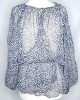 Elizabeth James XS Navy Blue Ivory Sheer Silk Long Sleeve Peasant Top Patterned