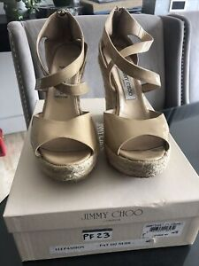 Jimmy Choo Size UK 7, Patent Leather Nude Wedges/Shoes, Euro 40