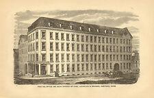 Hartford, CT. Case Lockwood & Brainard, Book Bindery, 1873 Antique Print Scarce.