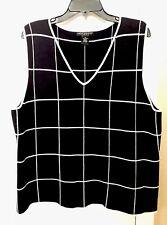 Sarah Spencer Womens 2X Sweater Vest Black & White Window Pane V-Neck Cotton