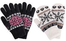 Women Winter Warm Knitted Full Finger Gloves Mittens - 2 Pairs