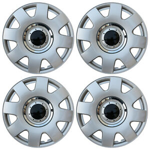 """Fits VW Volkswagen 4 Pc Set Hub Caps ABS Silver 15"""" Inch Rim Wheel Center Covers"""