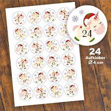 24 Aufkleber 1-24 Advent Adventskalender Zahlen Weihnachten Sticker Einhorn weiß