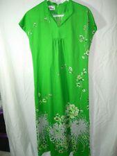 WOMENS VINTAGE 1960'S MOD LIME GREEN POLY Hawaiian ALOHA Long Dress MUUMUU M 40