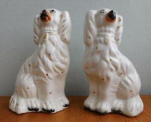 Nice Pair Staffordshire Pottery Mantel Staffy Spaniel Dogs 1860s