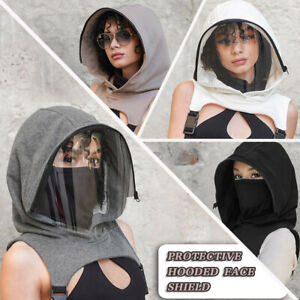 Full Face Wear Clear Hooded Hat Adults Face Protective Shield Reusable Removable