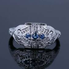 Solid 14K White Gold Natural Sapphire Engagement Flawless Wedding Antique Ring