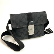 100% authentic GUCCI GG canvas 131236 body bag black used 1561-11A99
