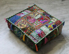 "16"" Square Green Patchwork Handmade Cushion Cover Floor Decorative Pillow Covers"