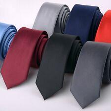 Uomo Business Cravatta Nero Bianco Liscio Matrimonio Skinny Seta Like Elegante
