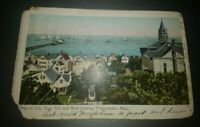 View of City, Town Hall, Boat landing at Provincetown Massachusetts OLD postcard