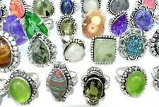 Bumper Sale Lot 100 PCs. DRUZY & PERIDOT 925 Sterling Silver Plated Ring Jewelry