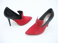 RMK BELL RED SUEDE BLACK LADIES FORMAL DRESS BOOTS SHOES HEELS SIZE 37 NEW