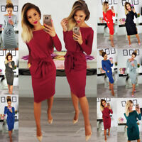 Women's Casual Midi Dress Long Sleeve Pocket Tie Front Solid Party Evening Dress