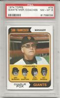 SET BREAK - 1974 TOPPS #78 SAN FRANCISCO GIANTS COACHES, PSA 8 NM-MT, FOX, L@@K