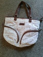 Union Bay Beige Lace Print Hobo Style Purse Hand Bag Tote Logo Lining Cotton Exc
