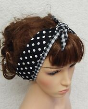 Reversible tie up retro headband rockabilly head scarf 50's self tie hairband
