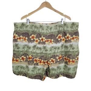 SPEEDO Swim Trunks Mens 2XL Cotton Blend Hawaiian Palms Mesh Lined Pockets