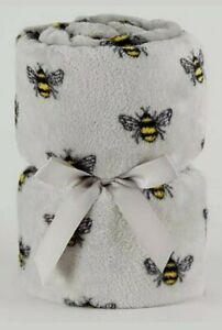 BEE GREY/BLACK YELLOW BUSY BEE BUMBLEBEE PRINT SOFT BLANKET FLEECE SOFA BED THRO