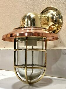 NAUTICAL ARCHED BULKHEAD NEW BRASS WALL SWAN PASSAGEWAY SHIP LIGHT WITH SHADE