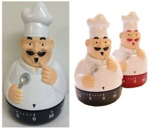 Novelty Happy Chef Timer Clock Cooking Fun Kitchen Egg Wind Up Timer 60 Minute
