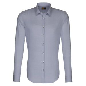 Seidensticker Langarm Hemd UNO SUPER SLIM blau weiß Print Gr. 43 / 573760.15