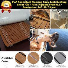 "6MM 35"" X 94"" Thick Brown EVA Foam Teak Sheet Boat Yacht Synthetic Teak Decking"
