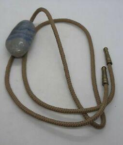VTG Bolo Tie Large Blue Banded Agate Jasper Stone Necklace