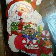 "18"" Christmas Stocking Kit 28135 ""Silly Santa"" Felt Sequins Aplique J & P Coats"