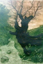 MARIO REYES MEXICAN b.1926 OTHERWORLDLY REALIST TREE RIVER ETCHING EMBOSSED