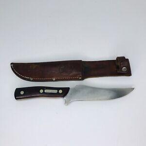 Vintage Schrade USA 150T Deer Slayer Hunting Knife & Leather Stag Sheath VGC