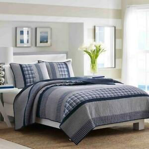 1-Piece Navy Blue Striped and Plaid Cotton Twin Full/Queen King Quilt Nautica