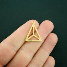 5 Geometric Triangle Charms Gold Tone 2 Sided - GC1215