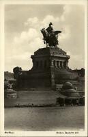 Koblenz Rheinland-Pfalz Postkarte ~1930/40 Partie am Deutschen Eck Denkmal Boote