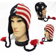 made in nepal american flag beanie Ski Hat cap handmade Wool with Fleece lining!