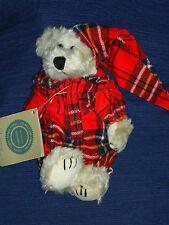 "8"" Boyds Bear plush BIANCA BEAR in Flannel Plaid  P.J.s and Night Cap w/Tag"