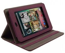 PURPLE LEATHER STAND CASE WITH SLEEP SENSOR FOR 2012 GOOGLE NEXUS 7 - VERSION 1