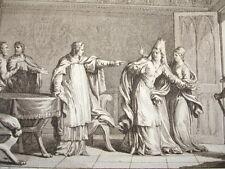 GRAVURE XVIIIe / LOUIS LE FAINÉANT CHASSE SA MÈRE & QUELQUES ÉVÊQUES AN 987