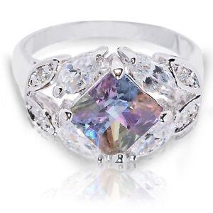 Nature Plumeria Princess Multi Color w Marquise CZ Genuine Sterling Silver Ring