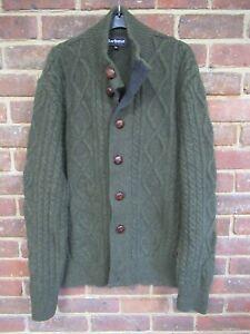 Barbour Green Kirkham Cable Button Cardigan Size XXL [2785]