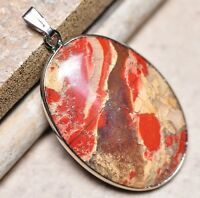 "Bloodstone Jasper Sea Sediment Quartz Natural Gemstone 1.75"" Silver Pendant #04"