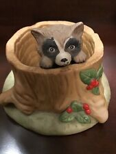 Spring Franklin Mint Woodland Surprises Raccoon Figurine Porcelain 2 Piece