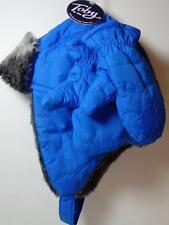 New Toby Boy's Blue & Gray Faux Fur Trapper Hat & Mittens, Sz 2-4 Yrs