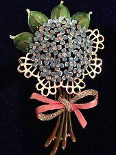 Crown Trifari Signed Antique Fur Clip Enameled Flower Beautiful Forget Me Nots!